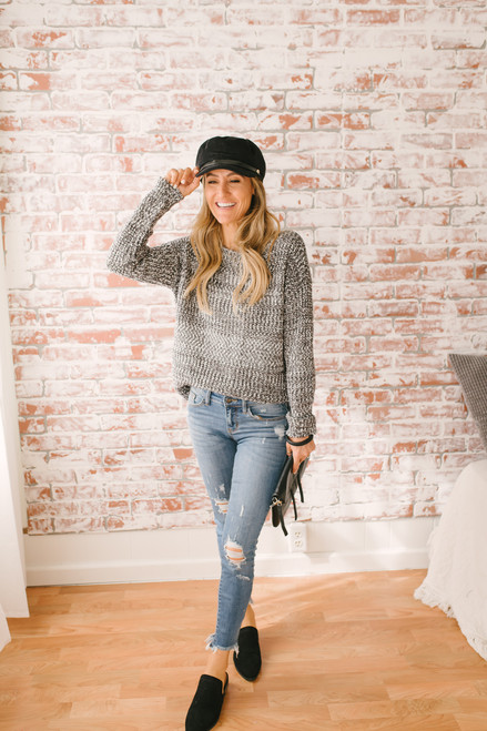 Mix it Up Two Tone Boatneck Sweater - Charcoal/White - FINAL SALE