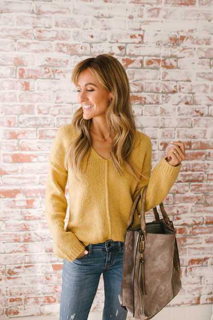 Goldie V-Neck Seam Detail Sweater - Mustard  - FINAL SALE