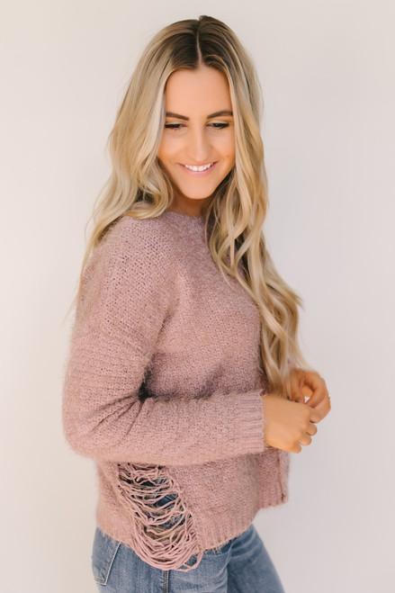 Fairytale Dream Distressed Detail Soft Sweater - Mauve  - FINAL SALE