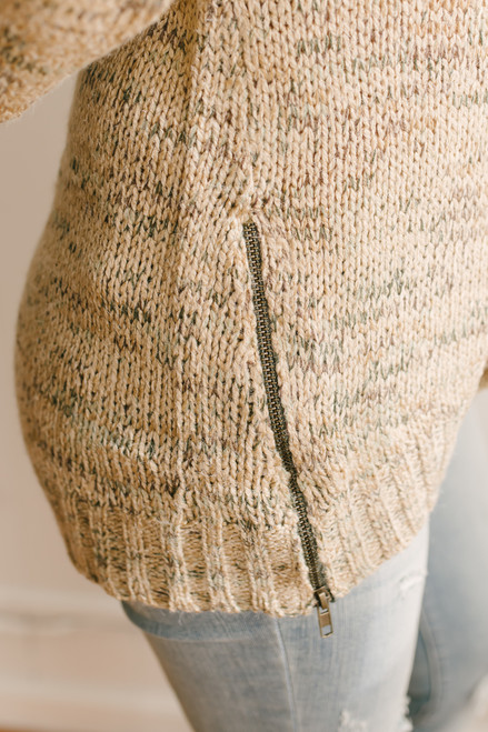 Mountain Trail Zipper Detail Marbled Sweater - Tan Multi  - FINAL SALE