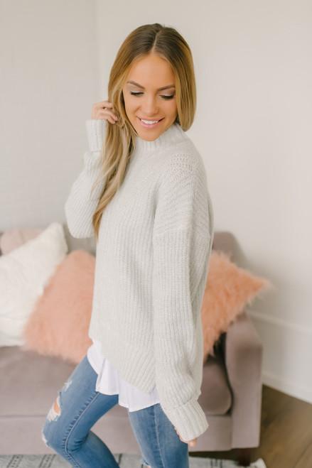 Stratford upon Avon Mock Neck Sweater - Light Grey