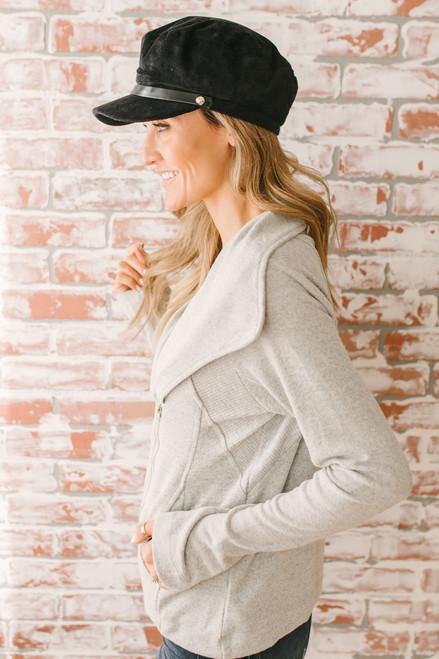 Asymmetrical Zip Up Jersey Jacket - Heather Grey  - FINAL SALE