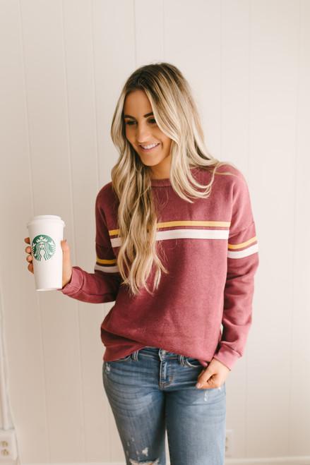 Fall Adventures Multi Stripe Sweatshirt - Burgundy  - FINAL SALE