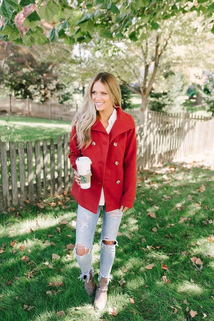 Martha's Vineyard Double Button Peacoat - Red  - FINAL SALE