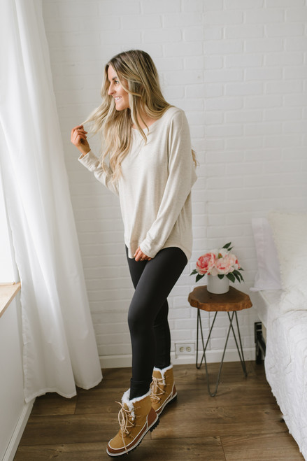 Contrast Stitch French Terry Pullover - Oatmeal