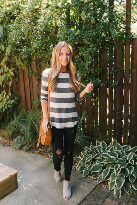 Gwen Soft Brushed Striped Top - Charcoal/Oatmeal