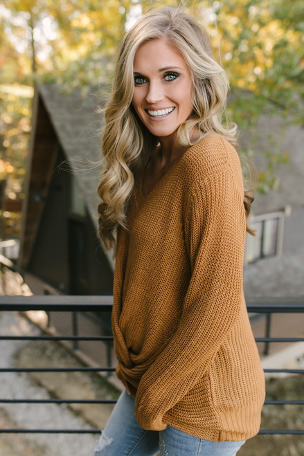 Need You Now Knot Sweater - Caramel  - FINAL SALE