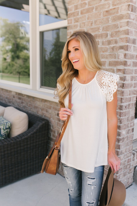 Lexi Crochet Eyelet Sleeve Tee - Off White - FINAL SALE