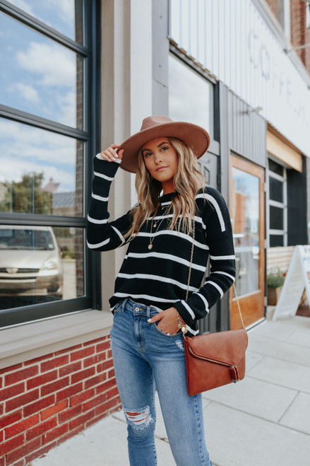 Ivy Cottage Black Striped Sweater