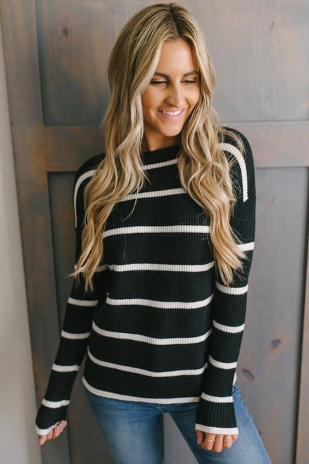Ivy Cottage Striped Sweater - Black/White - FINAL SALE