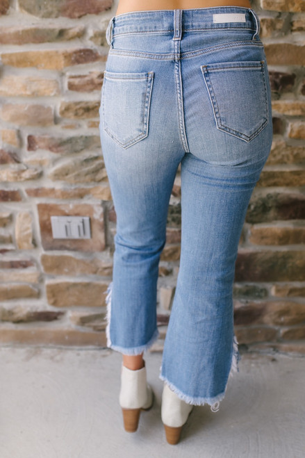 Wonderwall Frayed Cropped Flare Jeans - Medium Wash  - FINAL SALE