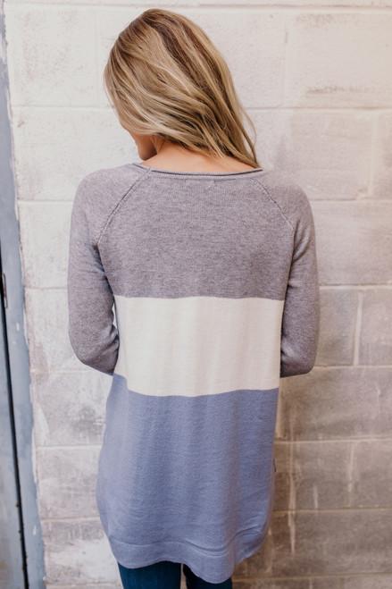 Lake Lodge Colorblock Sweater - Grey/Ivory/Dusty Blue
