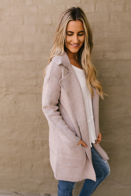 Windy City Two Tone Pocket Cardigan - Pink/Black - FINAL SALE