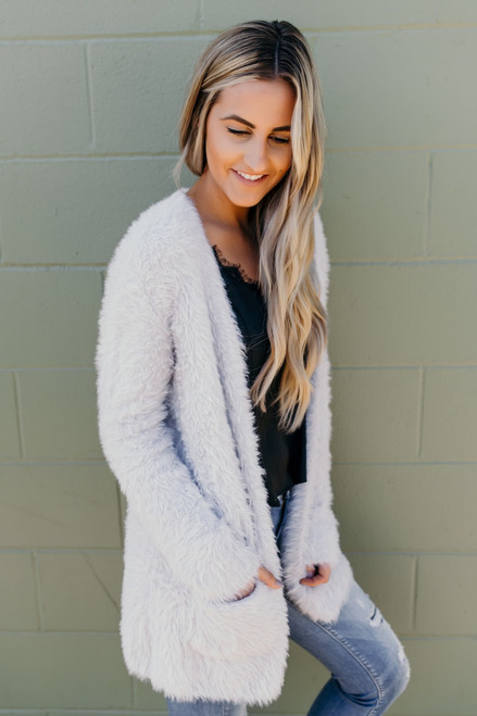 Free People Faux Fur Cardi - Silver  - FINAL SALE