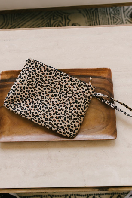 Kali Faux Fur Leopard Clutch - Beige Multi  - FINAL SALE