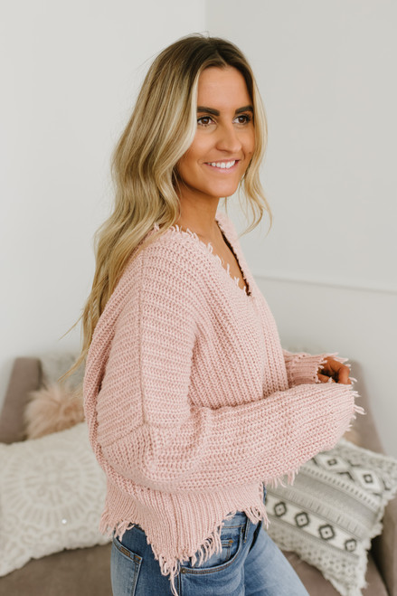 South of France Frayed Edge Sweater - Blush - FINAL SALE