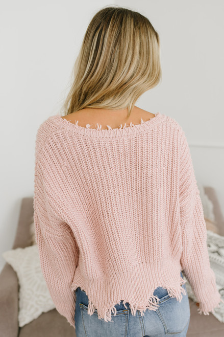 South of France Frayed Edge Sweater - Blush