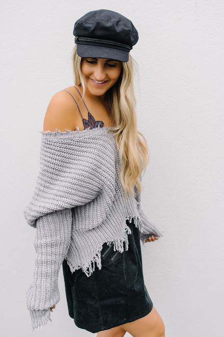 South of France Frayed Edge Sweater - Heather Grey - FINAL SALE