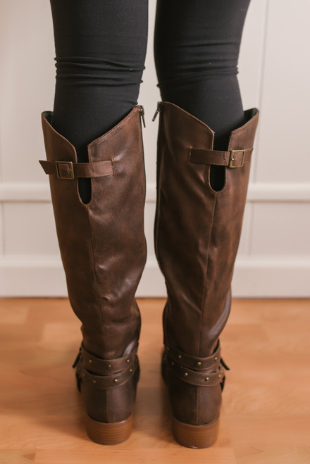 Augusta Studded Buckle Tall Boots - Brown -  FINAL SALE