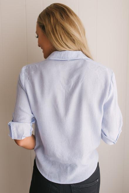 Button Down Striped Knot Top - Blue/White - FINAL SALE