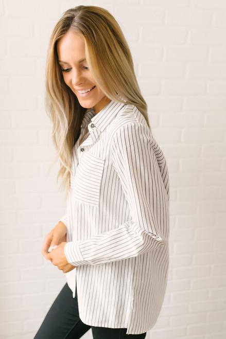 Irena Button Down Striped Pocket Top - White/Grey  - FINAL SALE