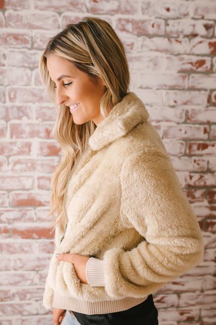 Soft Hooded Zip Up Jacket - Vanilla Cream  - FINAL SALE