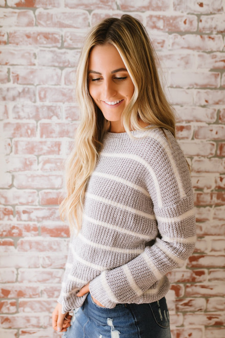 Grand Summit Striped Chenille Sweater - Grey/Ivory - FINAL SALE
