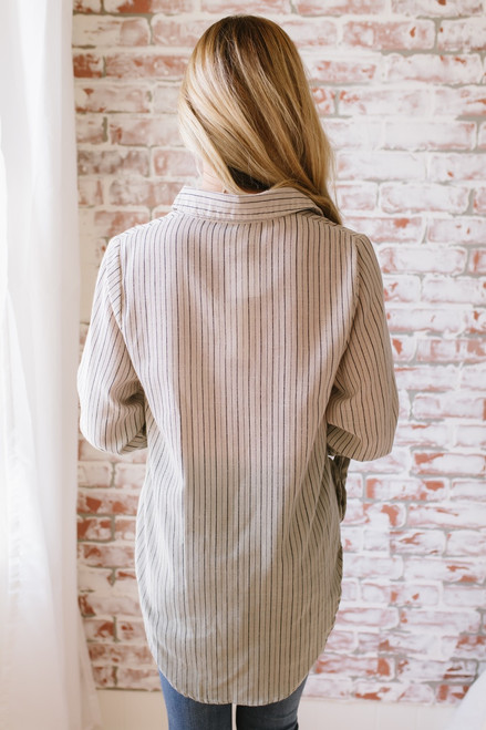 Dip Dye Button Down Striped Top - Taupe/Olive  - FINAL SALE