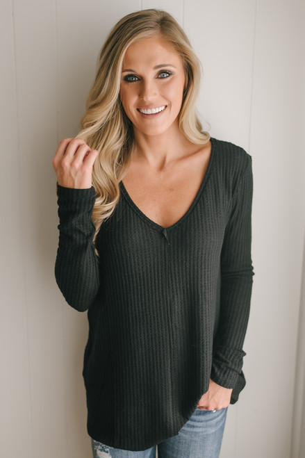 Only Exception Thermal Seam Detail Top - Black  - FINAL SALE