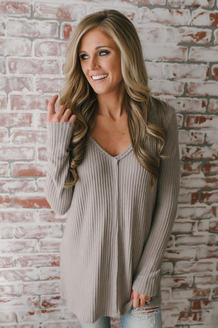 Only Exception Thermal Seam Detail Top - Mocha - FINAL SALE