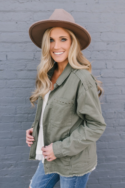 Ticket to Ride Studded Cargo Jacket - Olive  - FINAL SALE