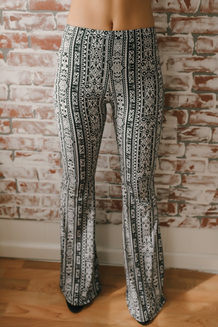Free Bird Printed Flare Pants - Black/White - FINAL SALE
