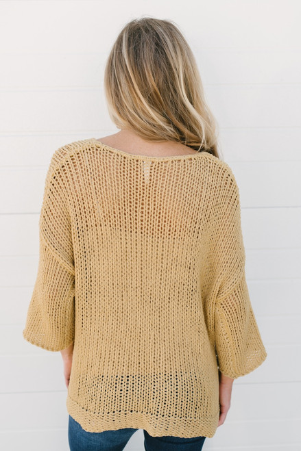 Just My Type Open Knit Sweater - Mustard  - FINAL SALE