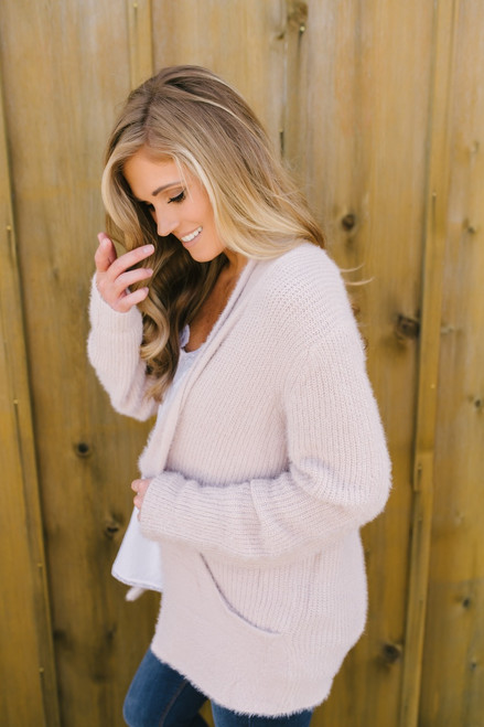 Dream a Little Dream Cozy Pocket Cardigan - Blush - FINAL SALE