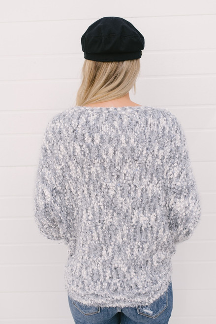 Haylee Cozy Confetti Bateau Sweater - Grey Multi  - FINAL SALE