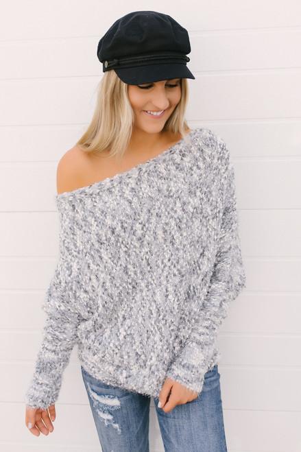 Haylee Cozy Confetti Bateau Sweater - Grey Multi  - FINAL SALE