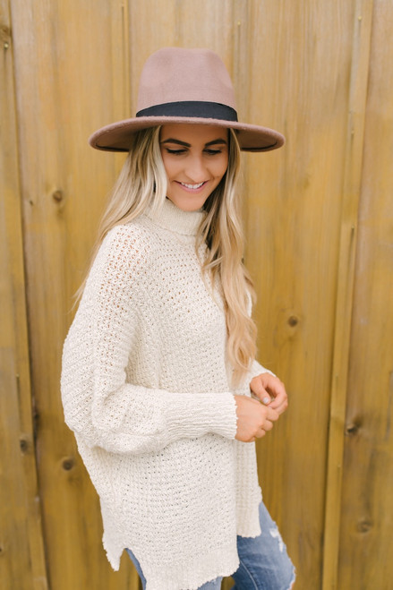 Open Knit Turtleneck Tunic Sweater - Natural  - FINAL SALE