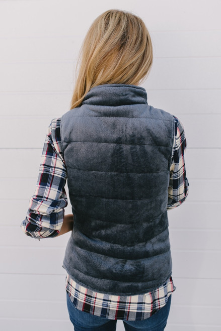 Mountain Vacation Soft Faux Fur Vest - Dark Slate - FINAL SALE