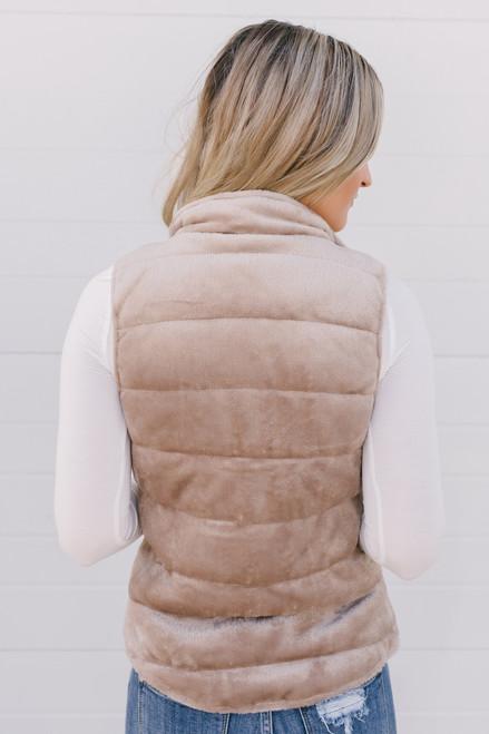 Mountain Vacation Soft Faux Fur Vest - Tan - FINAL SALE