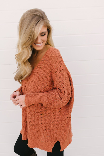 Autumn Wishes V-Neck Open Knit Sweater - Rust - FINAL SALE