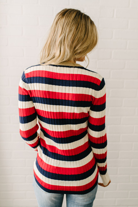 Teagan Ribbed Knit Striped Sweater - Red Multi - FINAL SALE
