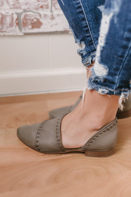 Raina Pointed Toe Stitched Flats - Taupe - FINAL SALE