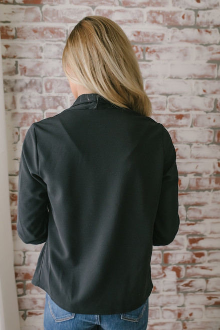 Only for You Ruched Sleeve Blazer - Black