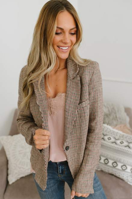Free People Chess Blazer - Garnet Multi