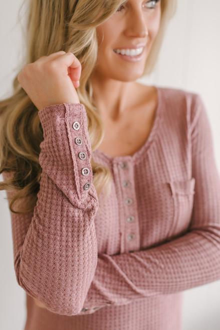 Button Detail Waffle Knit Top - Canyon Rose  - FINAL SALE