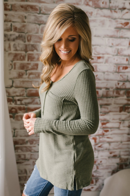 Button Detail Waffle Knit Top - Olive  - FINAL SALE