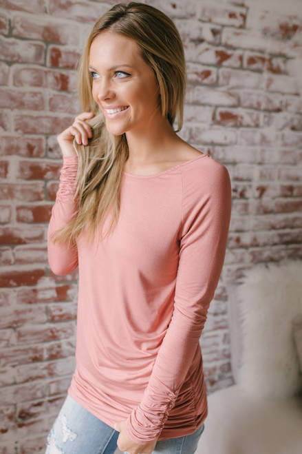 Long Sleeve Ruched Knit Tunic - Rust Rose - FINAL SALE