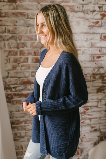 Along the Coast Dolman Cardigan - Navy - FINAL SALE