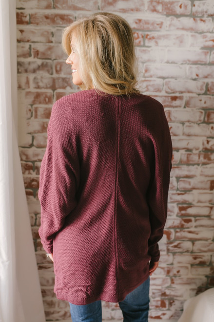 Along the Coast Dolman Cardigan - Burgundy - FINAL SALE