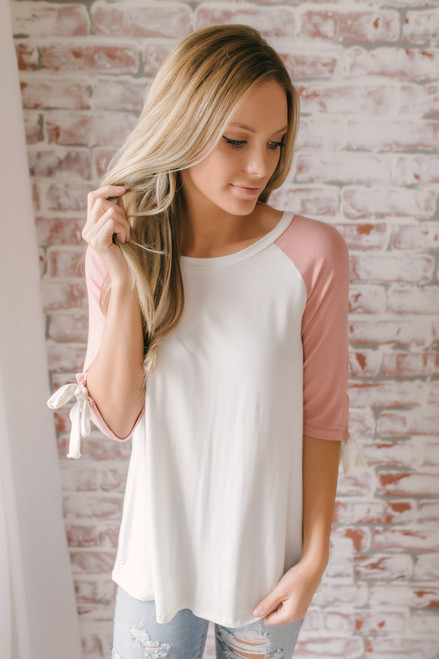 Candy Confection Tie Sleeve Raglan Top - Pink/White - FINAL SALE